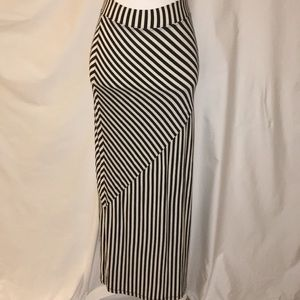 Long black and white stripped skirt